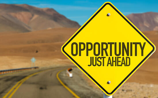 Opportunity Just Ahead sign on desert road-2